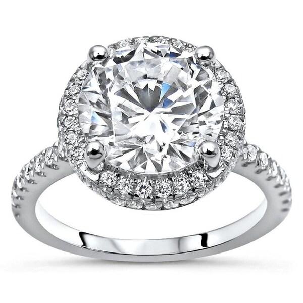 CERTIFIED 7 MM OFF WHITE ROUND CUT MOISSANITE DIAMOND 14K WHITE GOLD RING SET