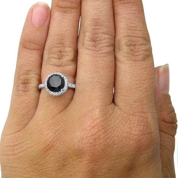 Shop 14k White Gold 3 ct Tdw Round Cut Black Diamond and Double ...