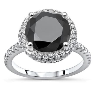 14k White Gold 3 Ct Tdw Round Cut Black Diamond And Double Edge Halo Engagement Ring