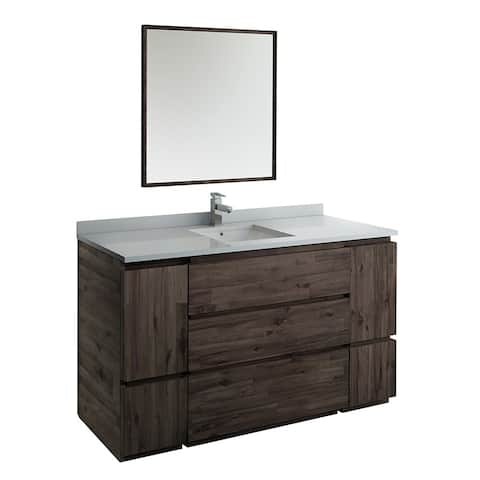 "Fresca Formosa 60"" Floor Standing Single Sink Modern Bathroom Vanity w/ Mirror"