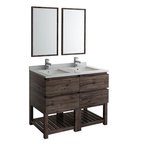 "Fresca Formosa 48"" Floor Standing Double Sink Modern Bathroom Vanity w/ Open Bottom & Mirrors"
