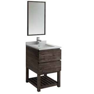 "Fresca Formosa 24"" Floor Standing Modern Bathroom Vanity w/ Open Bottom & Mirror"