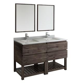 "Fresca Formosa 60"" Floor Standing Double Sink Modern Bathroom Vanity w/ Mirrors"