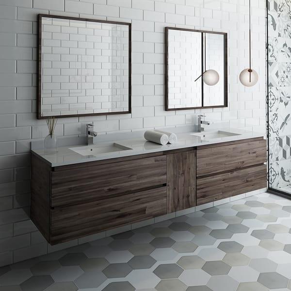 Fresca Formosa 84 Wall Hung Double Sink Modern Bathroom Vanity W Mirrors Overstock 26981048