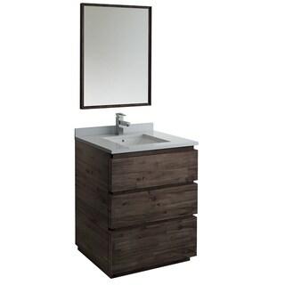 """Fresca Formosa 30"""" Wall Hung Modern Bathroom Vanity w/ Mirror"""