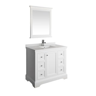 "Fresca Windsor 40"" Matte White Traditional Bathroom Vanity w/ Mirror"