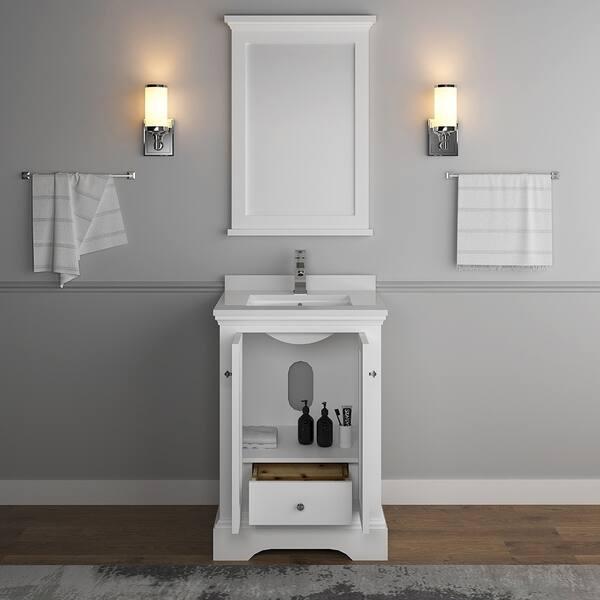 Matte White Traditional Bathroom Vanity
