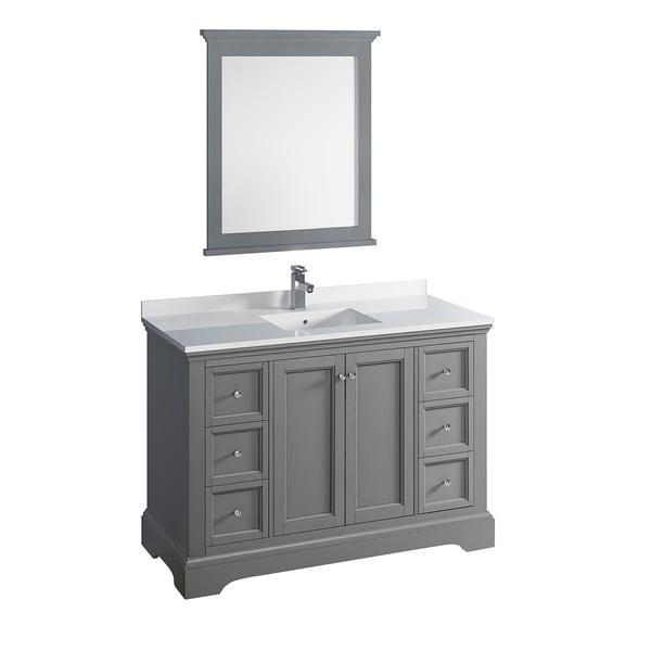 "Fresca Windsor 48"" Gray Textured Traditional Bathroom Vanity w/ Mirror"