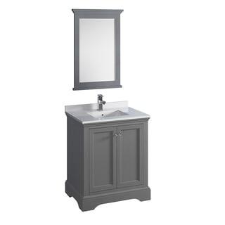 "Fresca Windsor 30"" Gray Textured Traditional Bathroom Vanity w/ Mirror"