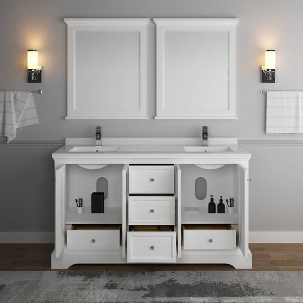 Matte White Traditional Double Sink