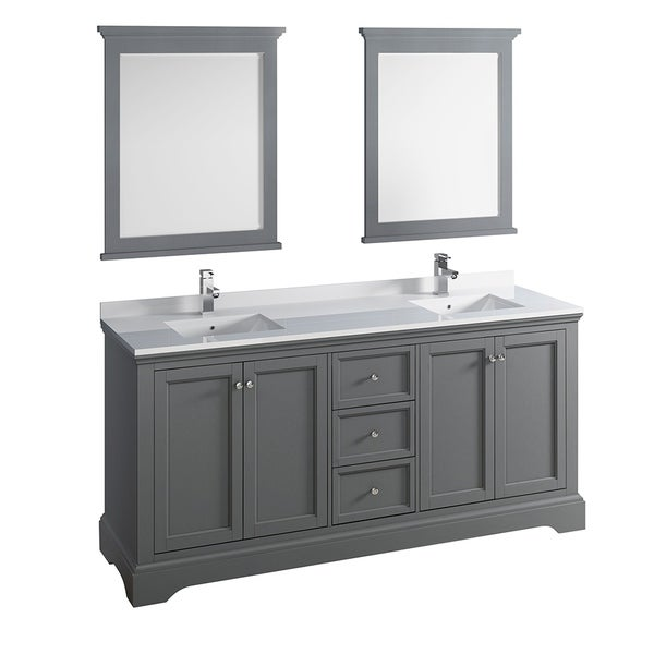 "Fresca Windsor 72"" Gray Textured Traditional Double Sink Bathroom Vanity w/ Mirrors"