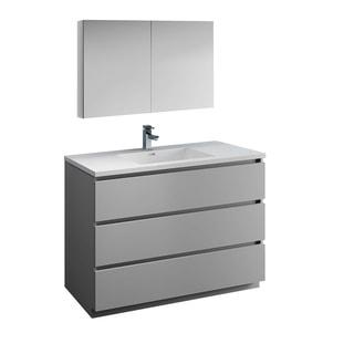 "Fresca Lazzaro 48"" Gray Free Standing Modern Bathroom Vanity w/ Medicine Cabinet"