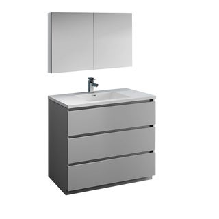 "Fresca Lazzaro 42"" Gray Free Standing Modern Bathroom Vanity w/ Medicine Cabinet"