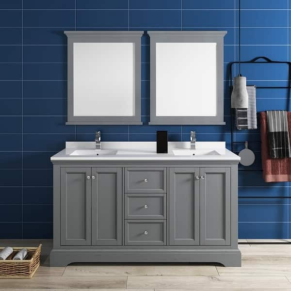 Gray Textured Traditional Double Sink