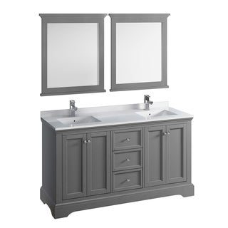 "Fresca Windsor 60"" Gray Textured Traditional Double Sink Bathroom Vanity w/ Mirrors"