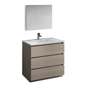 "Fresca Lazzaro 36"" Gray Wood Free Standing Modern Bathroom Vanity w/ Medicine Cabinet"