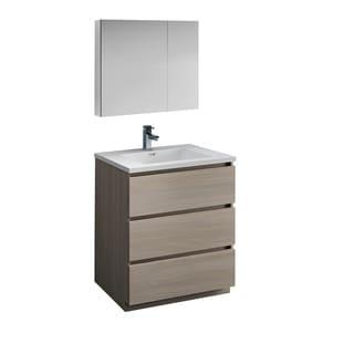 "Fresca Lazzaro 30"" Gray Wood Free Standing Modern Bathroom Vanity w/ Medicine Cabinet"