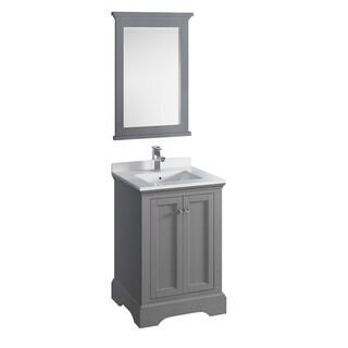 "Fresca Windsor 24"" Gray Textured Traditional Bathroom Vanity w/ Mirror"