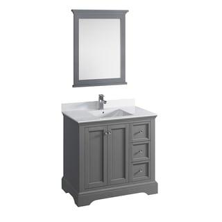 "Fresca Windsor 36"" Gray Textured Traditional Bathroom Vanity w/ Mirror"