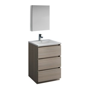 "Fresca Lazzaro 24"" Gray Wood Free Standing Modern Bathroom Vanity w/ Medicine Cabinet"