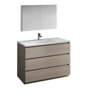 "Fresca Lazzaro 48"" Gray Wood Free Standing Modern Bathroom Vanity w/ Medicine Cabinet"