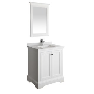 "Fresca Windsor 30"" Matte White Traditional Bathroom Vanity w/ Mirror"