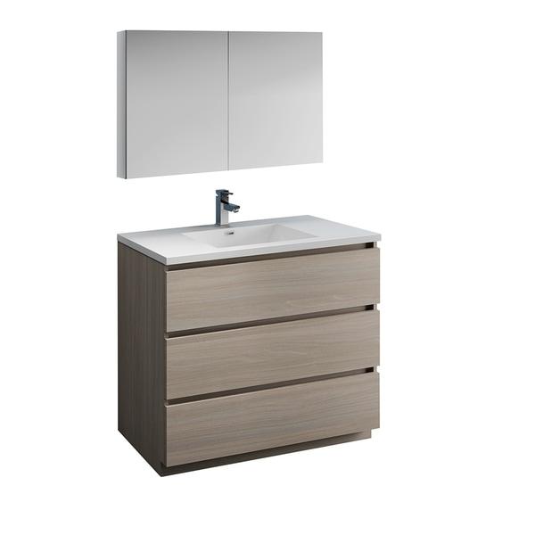 "Fresca Lazzaro 42"" Gray Wood Free Standing Modern Bathroom Vanity w/ Medicine Cabinet"