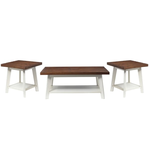 Standard Furniture Amelia 3-Pack Accent Tables, Light Brown Top with Distressed White Base