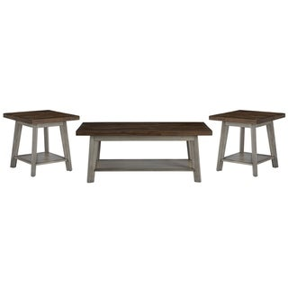 Standard Furniture Fairhaven 3-Pack Accent Tables, Distressed Reclaimed Oak Plank Top, Grey Base