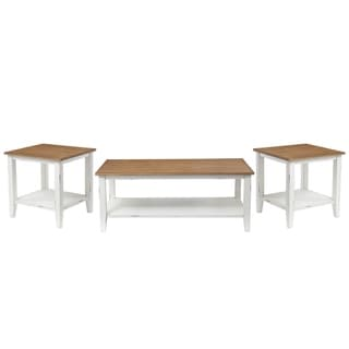 Standard Furniture Atticus 3-Pack Accent Tables with Casters, Toffee Brown Top with Vintage White Base