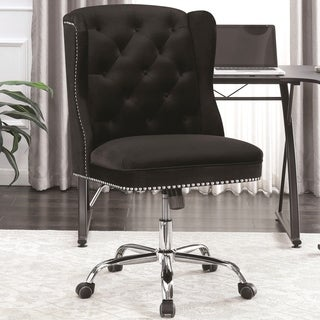Button Tufted Design Black Velvet Swivel Adjustable Office Chair with Nailhead Trim
