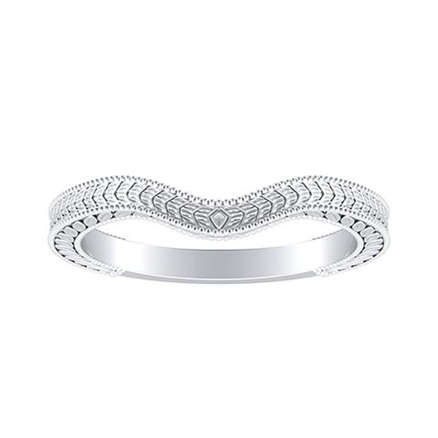 Auriya Platinum Curved Vintage Wedding Band