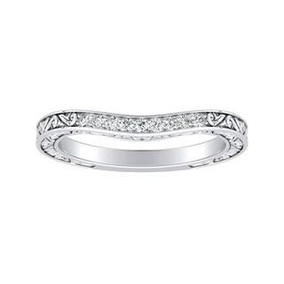Auriya Vintage 0 07ctw Contoured Diamond Wedding Band Platinum