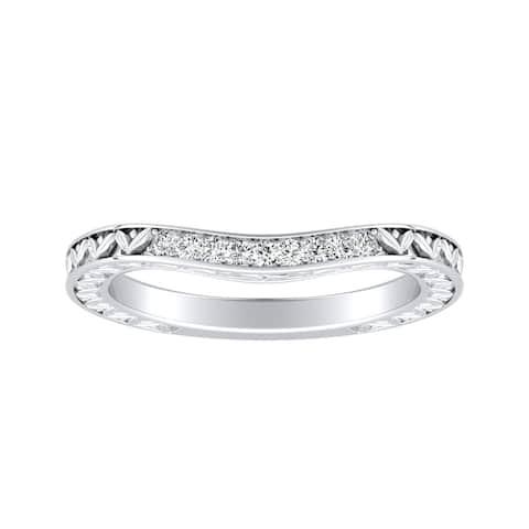 Auriya 0.09ctw Vintage Curved Diamond Wedding Band Platinum