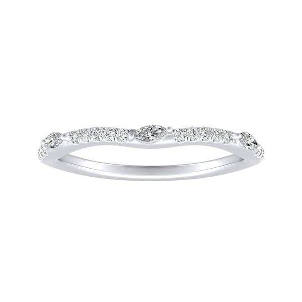 Auriya 1/6ctw Contoured Diamond Wedding Band Platinum