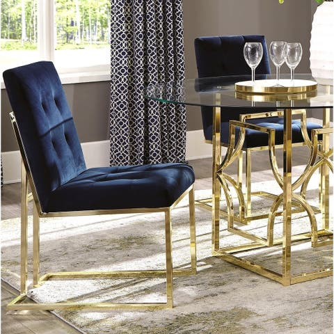 Modern Classic Button Tufted Design Blue Velvet and Brass Dining Chairs (Set of 2)