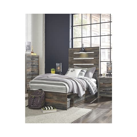 Drystan Rustic Panel Bed with Storage (Both Sides)