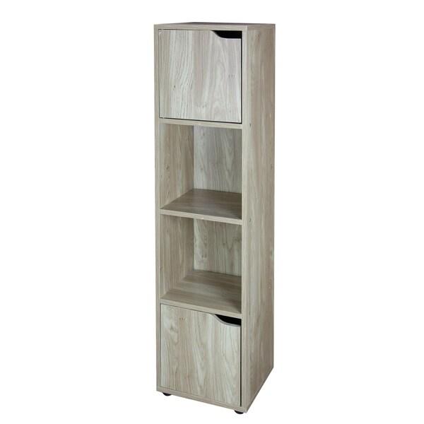 Home Basics 4 Cube Wood Storage Shelf with Doors, Natural