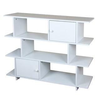Home Basics 3 Tier Wood Book Shelf with 2  Cabinet Doors, White