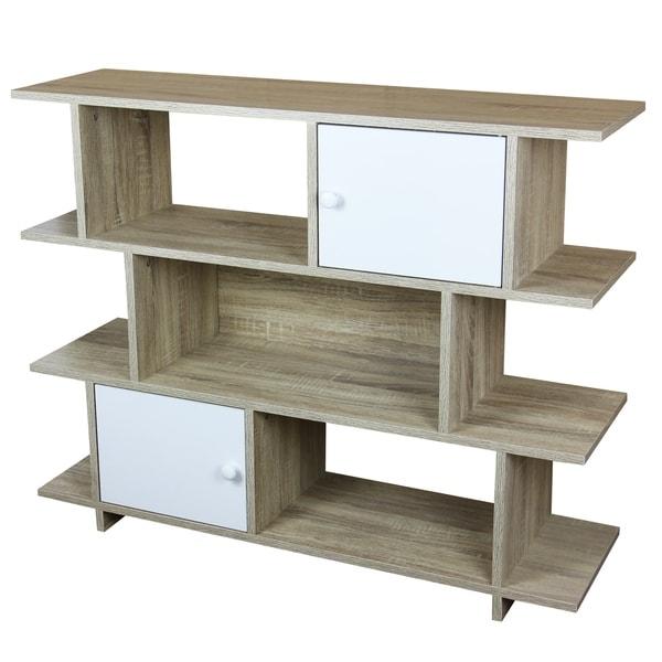 Home Basics 3 Tier Wood Book Shelf with 2 Cabinet Doors, Oak