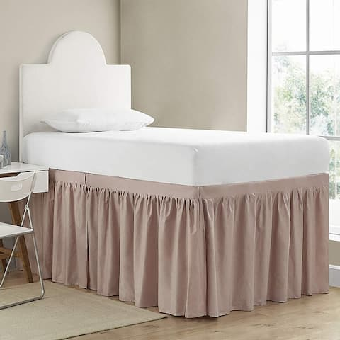 Dorm Sized Cotton Bed Skirt Panel with Ties (3 Panel Set)