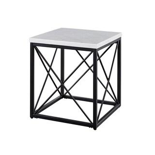 Carbon Loft Havinga Modern White Marble Square End Table