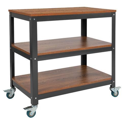 "30""W Rolling Storage Cart with Metal Wheels in Brown Oak Wood Grain Finish"