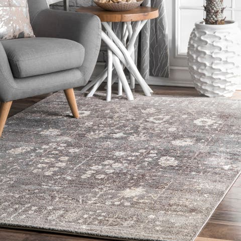 Porch & Den Slauson Vintage Faded Florid Border Area Rug