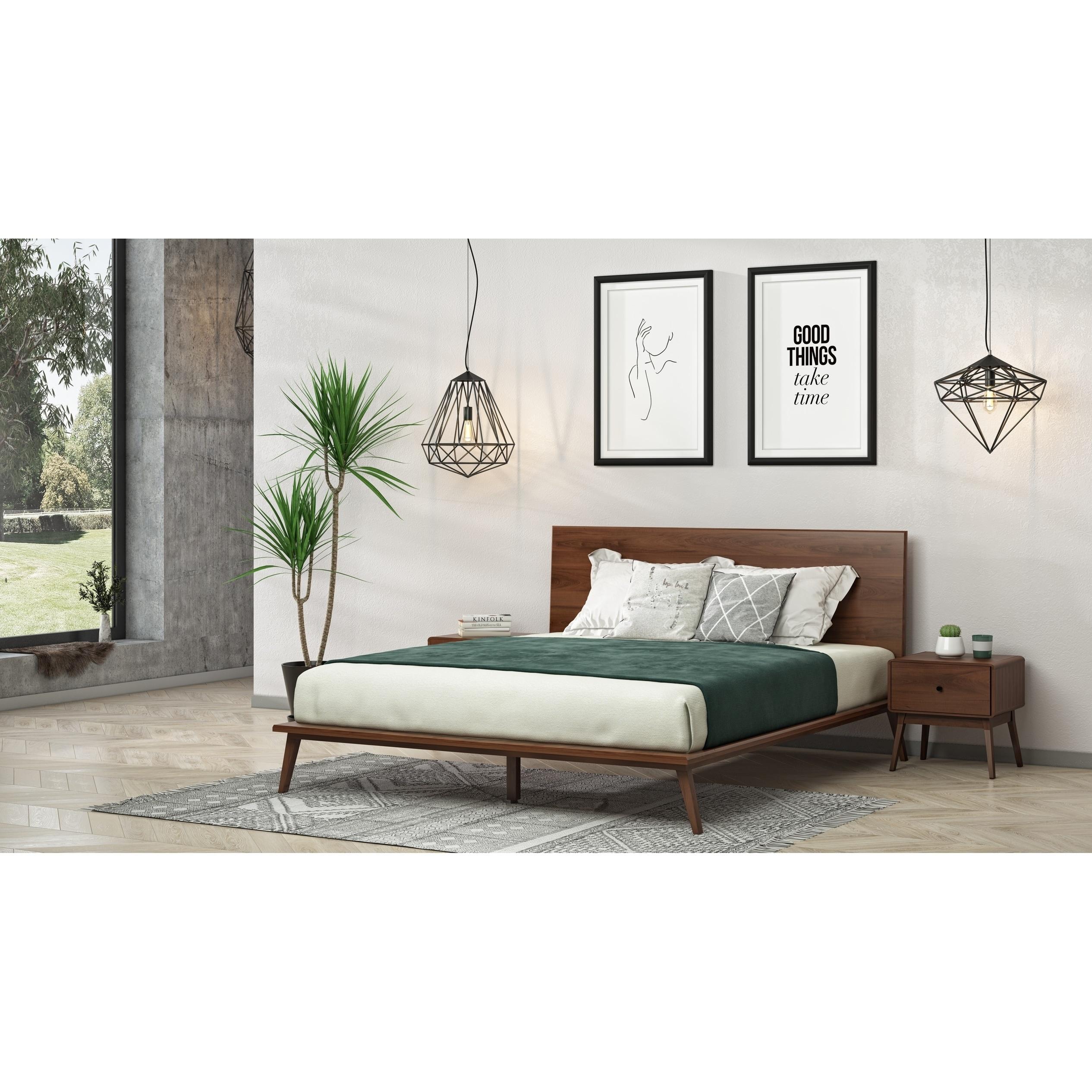 Shop Modrest Carmen Mid Century Modern Walnut Bed Overstock 26981552 Queen,Best Shutter Colors For Brick House