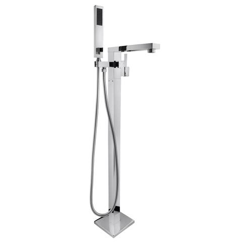 "AKDY 35"" Floor Mounted Chrome Finish Bath Tub Filler Faucet Handheld Wand"