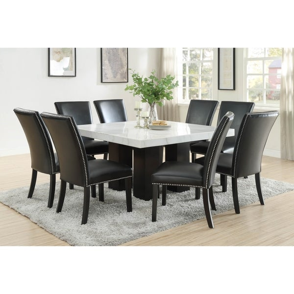 Gracewood Hollow Mhlanga White Marble 9-piece Square Dining Set