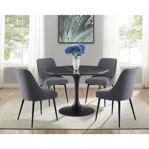 Greyson Living Collins Mid-Century Modern Black Marble 5-Piece Dining Set