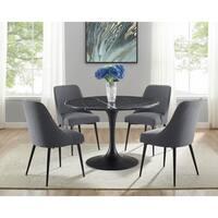 Greyson Living Collins Mid-Century Modern Black Marble 5-Piece Dining Set
