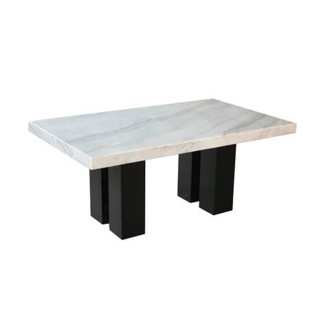 Gracewood Hollow Mhlanga 70-inch White Marble Dining Table